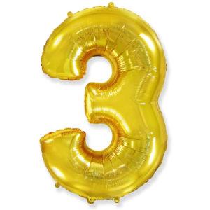 Фольгированный шар - цифра 3 gold (золотой)