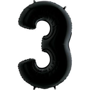 шар (40''/102 см, ESP) Цифра, 3, Черный