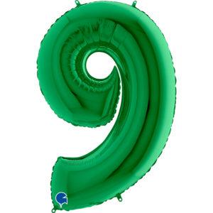 Шар (40''/102 см, ITA) Цифра, 9, Зеленый