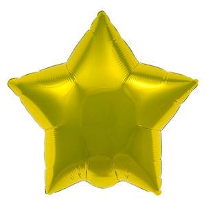 Фольгированный шар (21''/46 см) Звезда, Золото, 1 шт.
