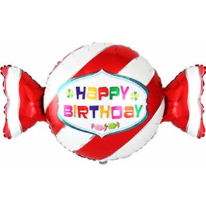 Шар (36''/91 см, ESP) Фигура, Конфета, С Днем Рождения, Красный