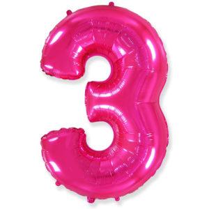 Фольгированный шар - цифра 3 фуше