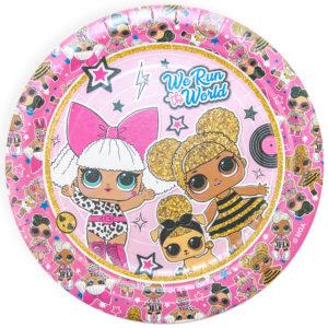 Тарелки (7''/18 см) Кукла ЛОЛ (LOL), Розовый, 6 шт.
