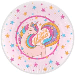 Тарелки (9''/23 см) Волшебный единорог, С Днем Рождения!, Розовый, 6 шт.