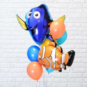 Фольгированный шар (34''/86 см) Фигура, Рыба-клоун Немо, Оранжевый