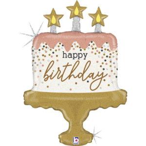 Шар (33''/84 см) Фигура, Торт на День Рождения (яркие свечи и конфетти), Голография