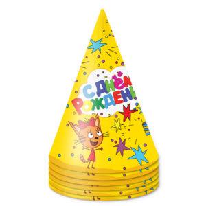 Колпаки на праздник Три Кота, С Днем Рождения!, Желтый, 6 шт.
