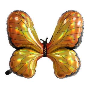 Шар (31''/79 см) Фигура, Радужная бабочка, Голография, золотая (CHN)