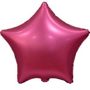 Шар (18''/46 см, CHN) Звезда, Бордовый, Сатин