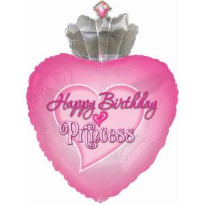 Шар (30''/76 см, USA) Сердце, С Днем Рождения, Принцесса, Розовый