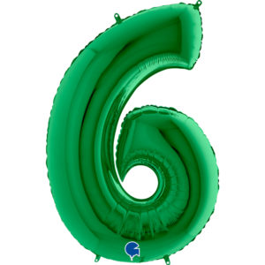 Шар (40''/102 см, ITA) Цифра, 6, Зеленый