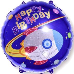 Шар (18''/46 см, CHN) Круг, С Днем Рождения (ракета в космосе), Синий