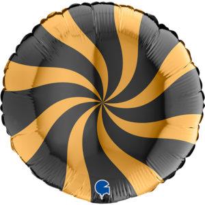 Шар. Леденец, круг, черный/золото (18''/46 см, ITA)