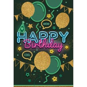 Открытка, Happy Birthday (неоновые огни), с блестками, 12*18 см, 1 шт.