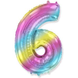 Шар (40''/102 см) Цифра, 6, Диагональная радуга, Градиент, 1 шт.