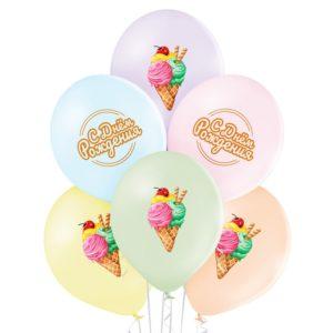 """Шар, С Днем Рождения! (14""""/35 см, BEL) Мороженое"""