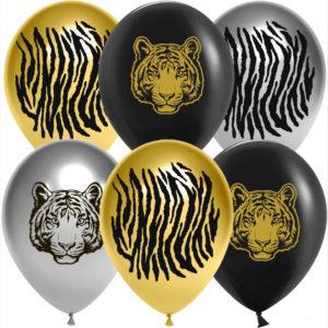 Шар (12''/30 см, CHN) Благородный тигр, Ассорти, хром, 2 ст