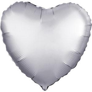 Шар (19''/48 см, RUS) Сердце, Платина, Сатин